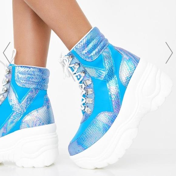 Yru Matrixx Hi Blue Platform Sneakers